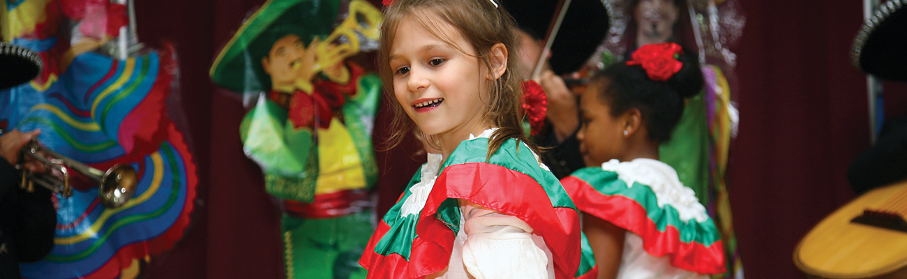 children in salsa outfits