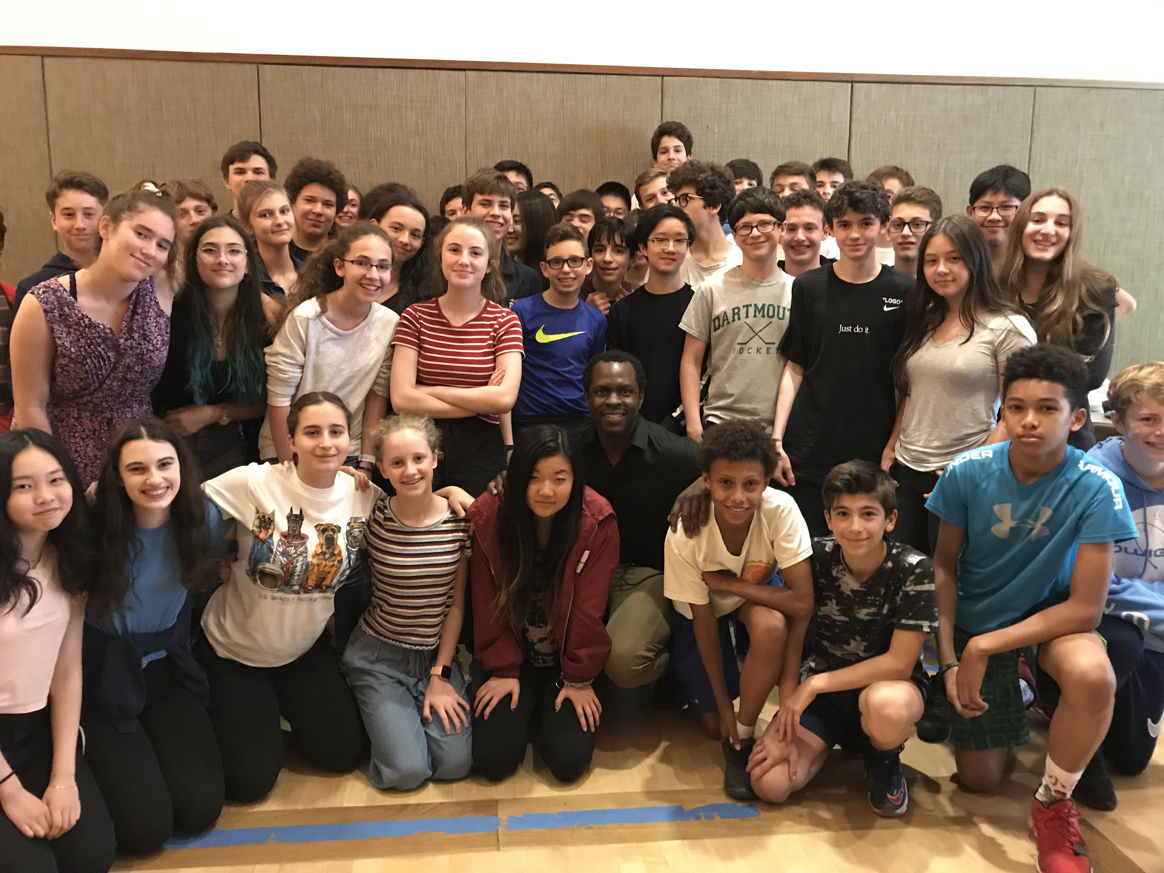 Eighth Graders Chat with Broadway Star Gbenga Akinnagbe